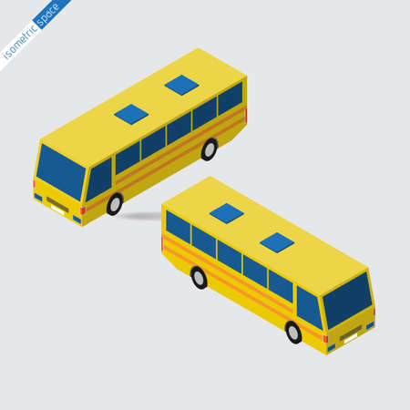 omnibus: isometric space - yellow bus with blue windows, side views