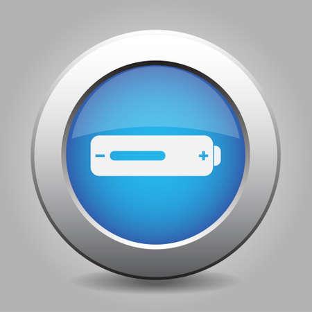 medium: blue metal button - with white battery medium