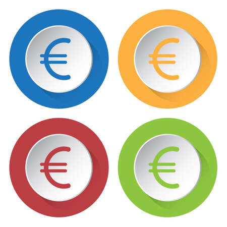 currency symbol: set of four colored icons - euro currency symbol