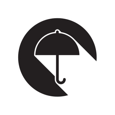 brolly: black icon with umbrella and white stylized shadow Illustration