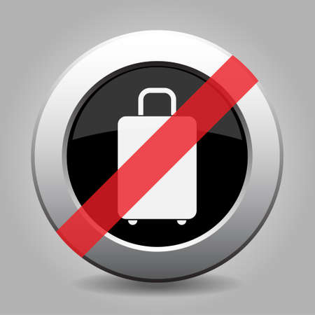 interdict: gray chrome button with no suitcase - banned icon Illustration