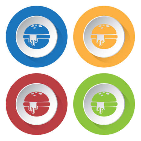 melted cheese: set of four colored icons - hamburger with melted cheese