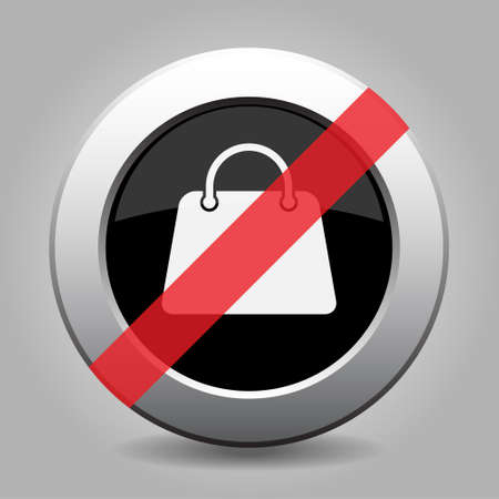 banned: gray chrome button with no handbag - banned icon