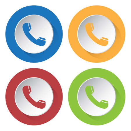 telephone icons: set of four colored icons - telephone handset