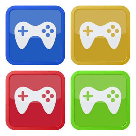 the gamepad: set of four colored square icons with gamepad Illustration