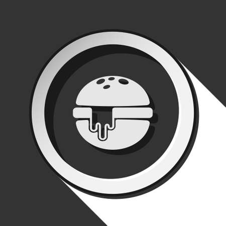 melted cheese: black icon - hamburger with melted cheese and white stylized shadow