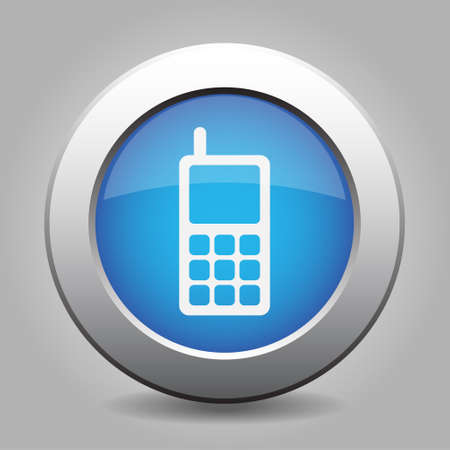 mobil: blue metal button - with white old mobile phone with antenna