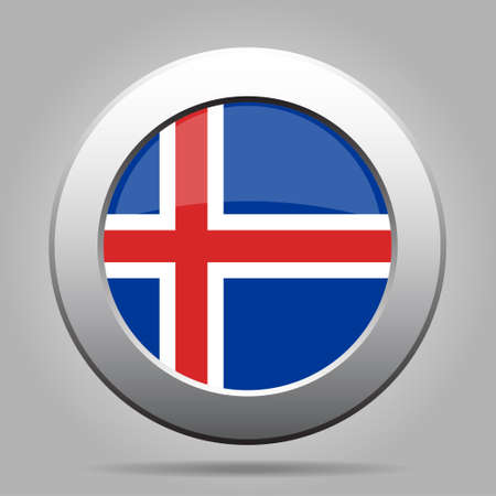 isles: metal button with the national flag of Iceland on a gray background Illustration