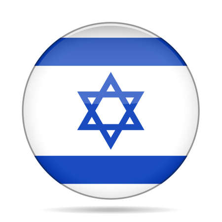 israelite: button with national flag of Israel and shadow Illustration