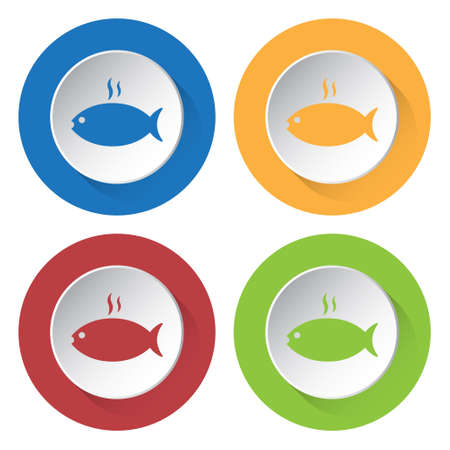 caudal fin: set of four colored icons - grilling fish with smoke