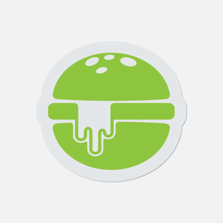 melted cheese: simple green icon with contour and shadow - hamburger and melted cheese on a white background