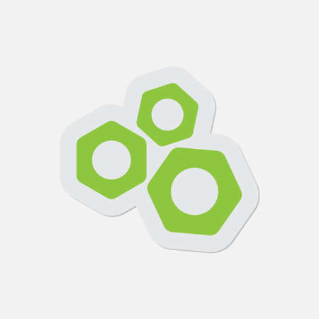 housebuilding: simple green icon with contour and shadow - three nuts on a white background Illustration