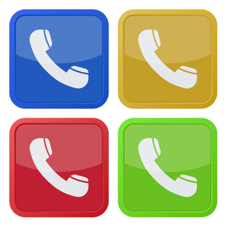 telephone icons: set of four colored square icons with telephone handset