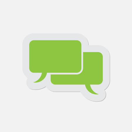 shadow speech: simple green icon with contour and shadow - speech bubbles on a white background Illustration