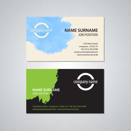 2 50: set of two business cards with stain - Canada and USA standard, 3,5 x 2 in or 88,9 x 50,8 mm Illustration