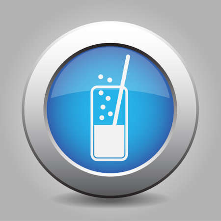carbonated drink: blue metal button - white glass with carbonated drink and straw