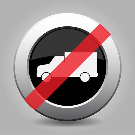 gray chrome button with no lorry car - banned icon