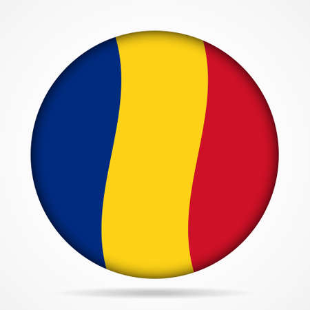 romania: button with waving national flag of Romania and shadow