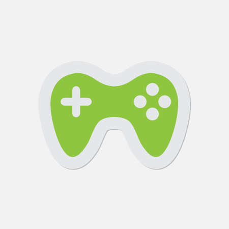 gamepad: simple green icon with contour and shadow - gamepad on a white background