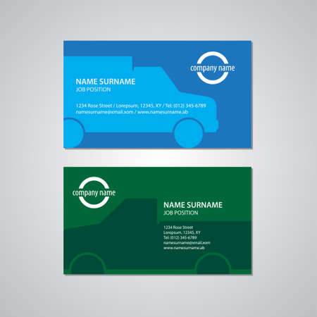 2 50: set of two business cards with cars, Canada and USA standard, 3,5 x 2 in or 88,9 x 50,8 mm Illustration