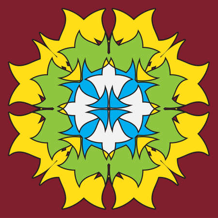 burgundy background: colored ornamental symmetrical mandala in the shape of a dragon - flower on a burgundy background