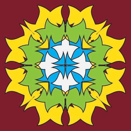 colored ornamental symmetrical mandala in the shape of a dragon - flower on a burgundy background