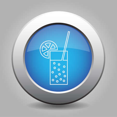 carbonated: blue metal button - white glass with carbonated drink, straw and citrus Illustration