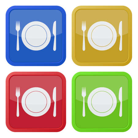 set of four colored square icons - cutlery, fork and knife with plate