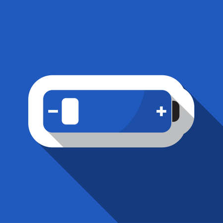 square blue information icon with white outline and shadow - blue and black battery low