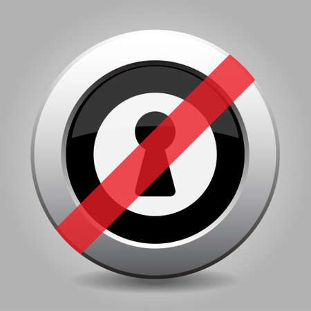 banned: gray chrome button with no keyhole - banned icon Illustration