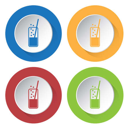 carbonated drink: set of four colored icons - glass with carbonated drink and straw