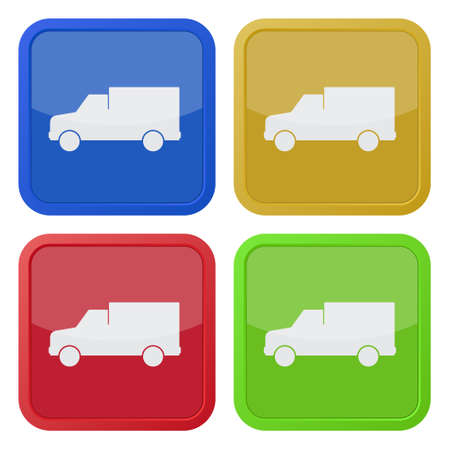 camion: set of four colored square icons with lorry car
