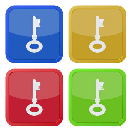 unprotected: set of four colored square icons with key Illustration
