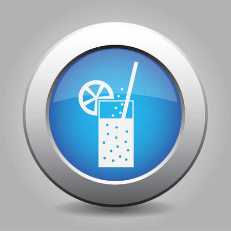 carbonated drink: blue metal button - white glass with carbonated drink, straw and citrus Illustration