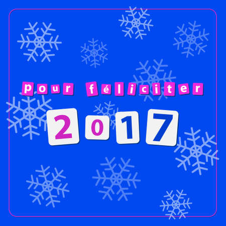 pour feliciter: pf card, new year 2017 - text with snowflakes on a blue background