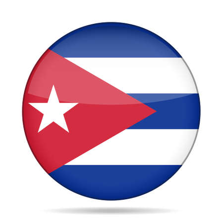 totalitarian: button with national flag of Cuba and shadow Illustration