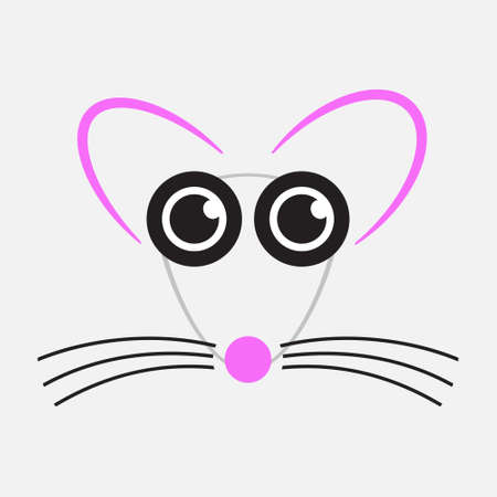 whisker characters: gray drawing mouse with black eyes, whiskers and pink nose, ears Illustration