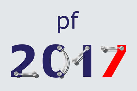 pour feliciter: pf card, new year 2017 - blue and red with plates, screws Illustration