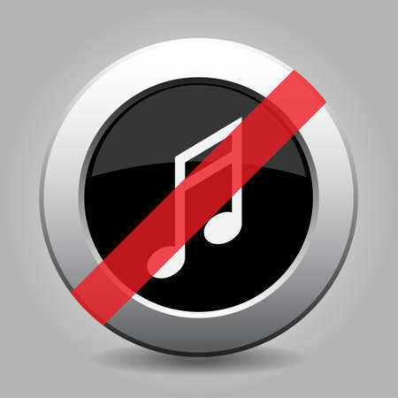 semiquaver: gray chrome button with no musical note - banned icon Illustration