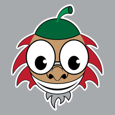 green hair: cartoon sticker - brown acorn with green cap, red hair, beard and glasses on a gray background Illustration