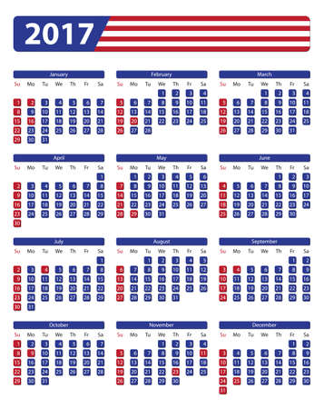 days of the week: USA calendar 2017 with official holidays and non-working days - week starts on sunday