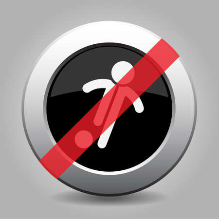 gray chrome button with no football, soccer player - banned icon Illustration