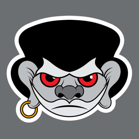 red eyes: sticker - evil buccaneer with red eyes, black hat and gold earring Illustration