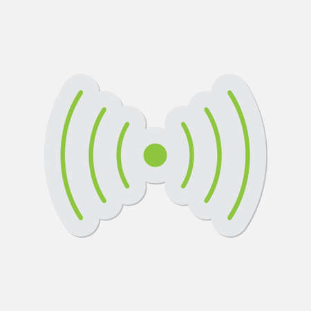 vibration: simple green icon with contour and shadow - sound or vibration symbol on a white background
