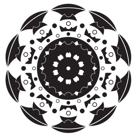 black and white, ornamental geometric mandala - flower shape Illustration