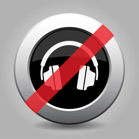 gray chrome button with no headphones - banned icon Illustration