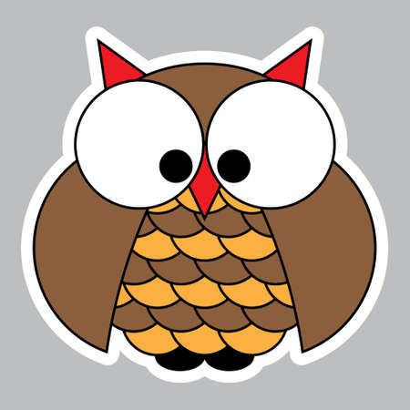 hesitate: sticker - colored cute owl with big eyes on a gray background
