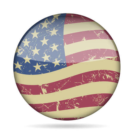american vintage: button with vintage waving national flag of the United States of America and shadow - grunge style