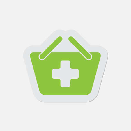 go to store: simple green icon with contour and shadow - shopping basket plus on a white background Illustration