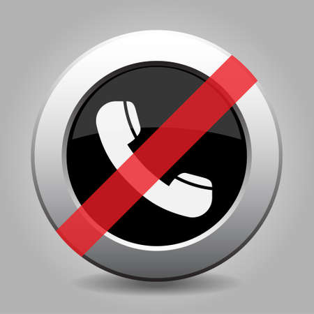 banned: gray button with no telephone handset - banned icon